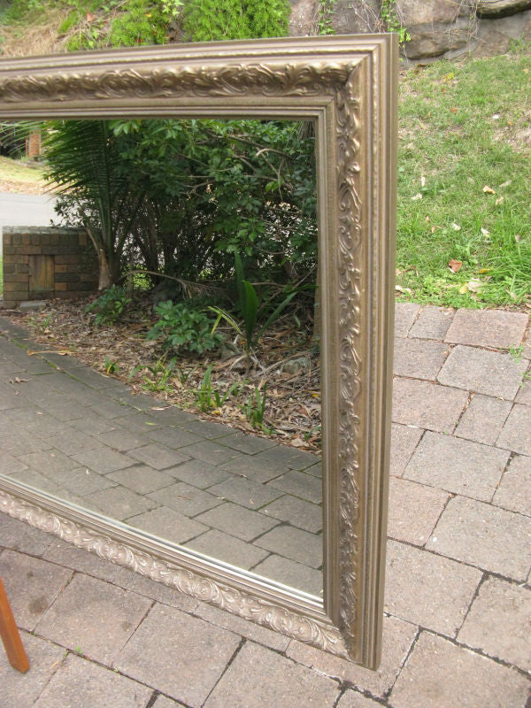 Aged Antique Look Champagne Gold Wide Timber Wood Framed Wall Mirror