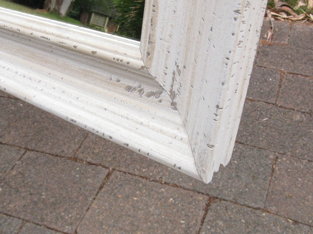 Aged Distressed Shabby Chic Style White Timber Framed Wall Mirror