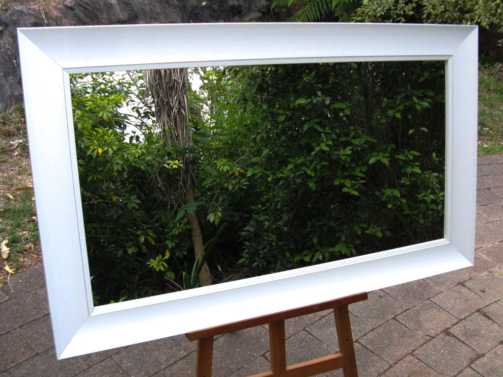 Art Deco Style White & Silver Pinstripe Wide Timber Framed Wall Mirror