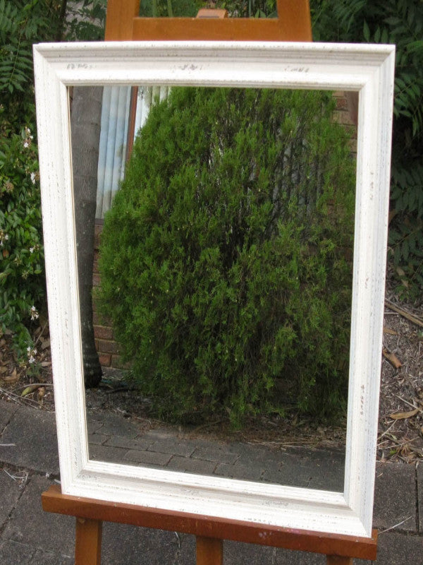 Shabby Chic Off White Decorative Wood Framed Mirror Image ...