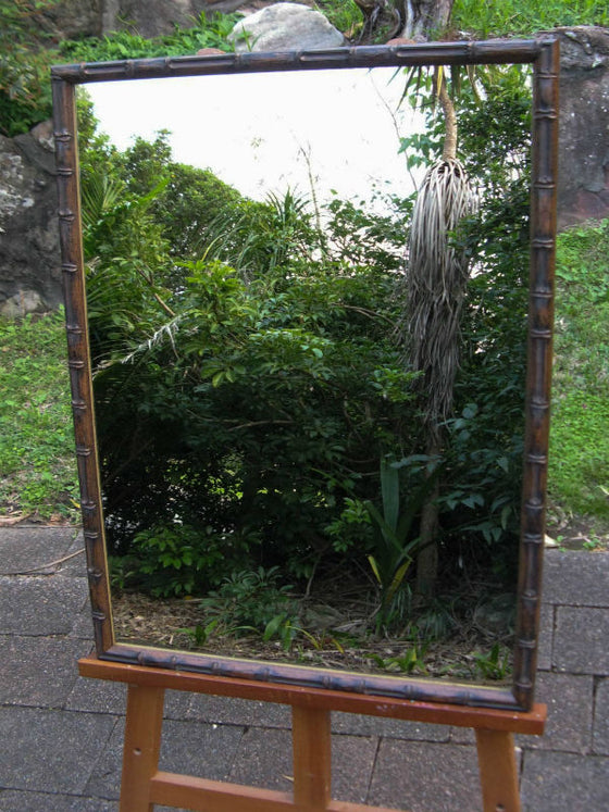 Bamboo Look Dark Walnut Wood Framed Wall Mirror