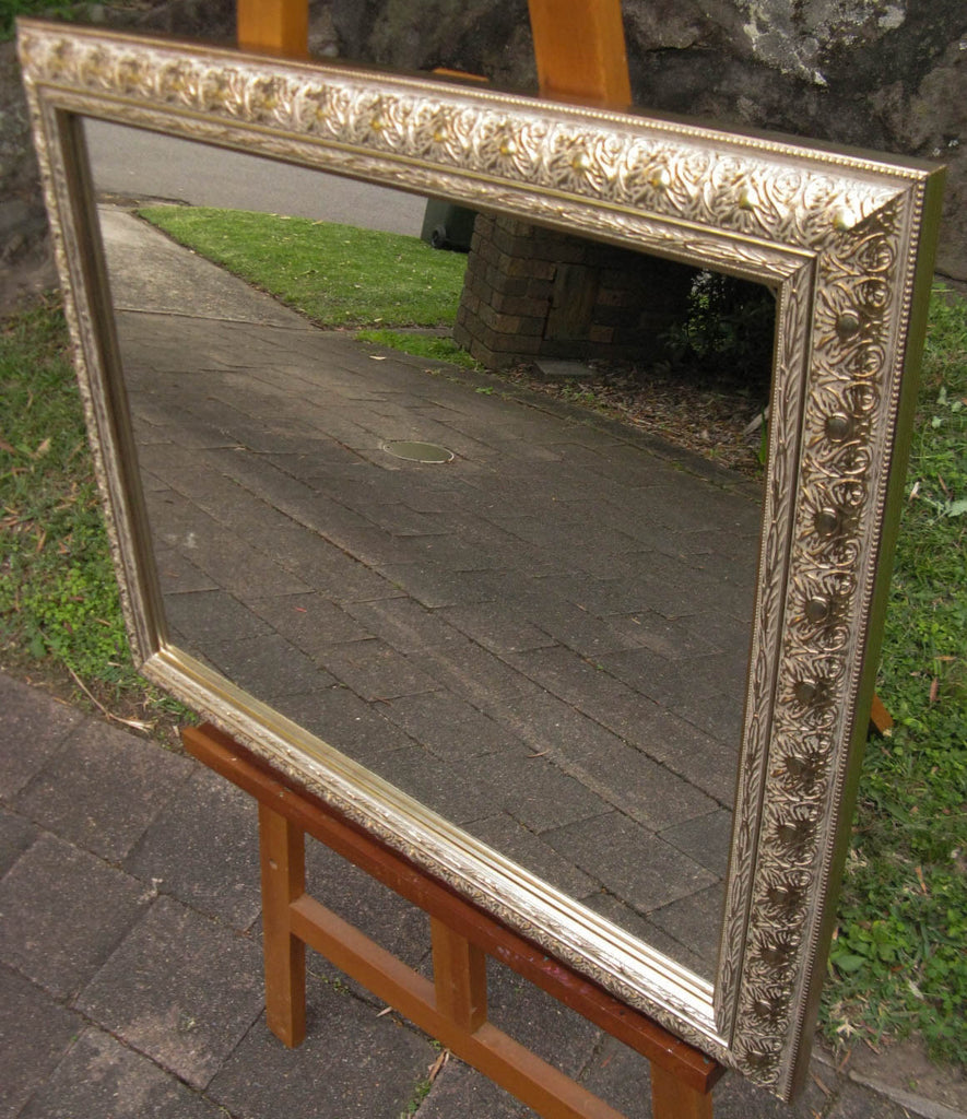 Ornate Antique Style Champagne Silver Timber Framed Wall Mirror