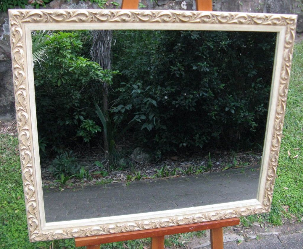 Ornate Antique Style Off White Timber Framed Wall Mirror