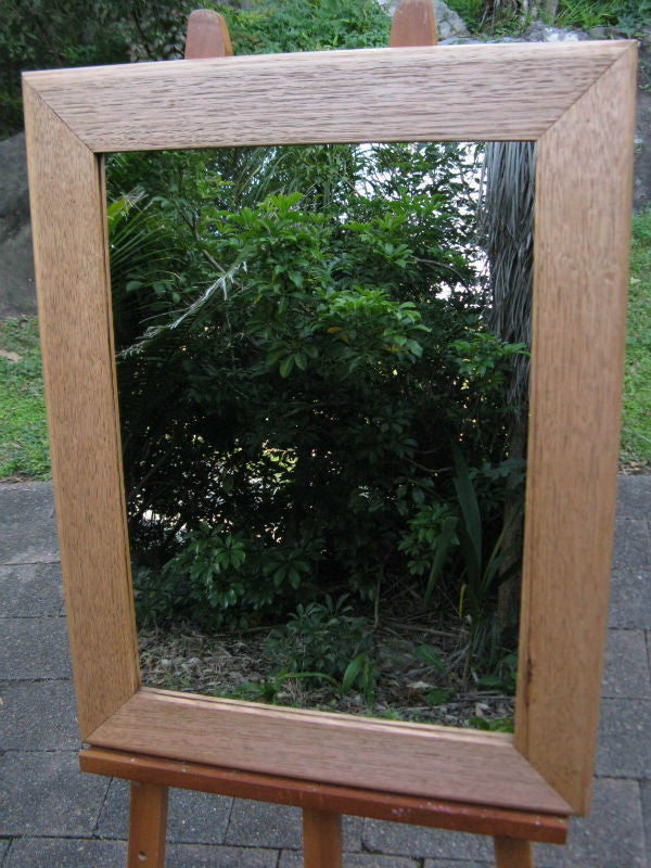 Australian Hardwood Antique Stain Tas Oak Timber Framed Wall Mirror