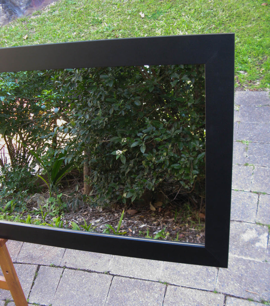 Plain Matt Black Timber Framed Wall Mirror