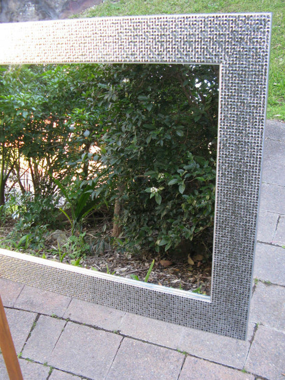 Hollywood Chrome Silver Wide Timber Framed Wall Mirror