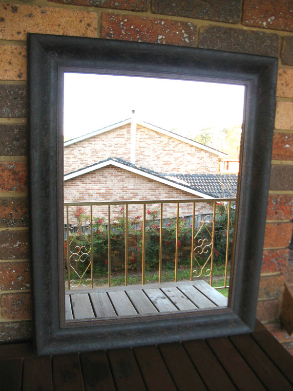 Traditional Aged Charcoal Timber Framed Wall Mirror