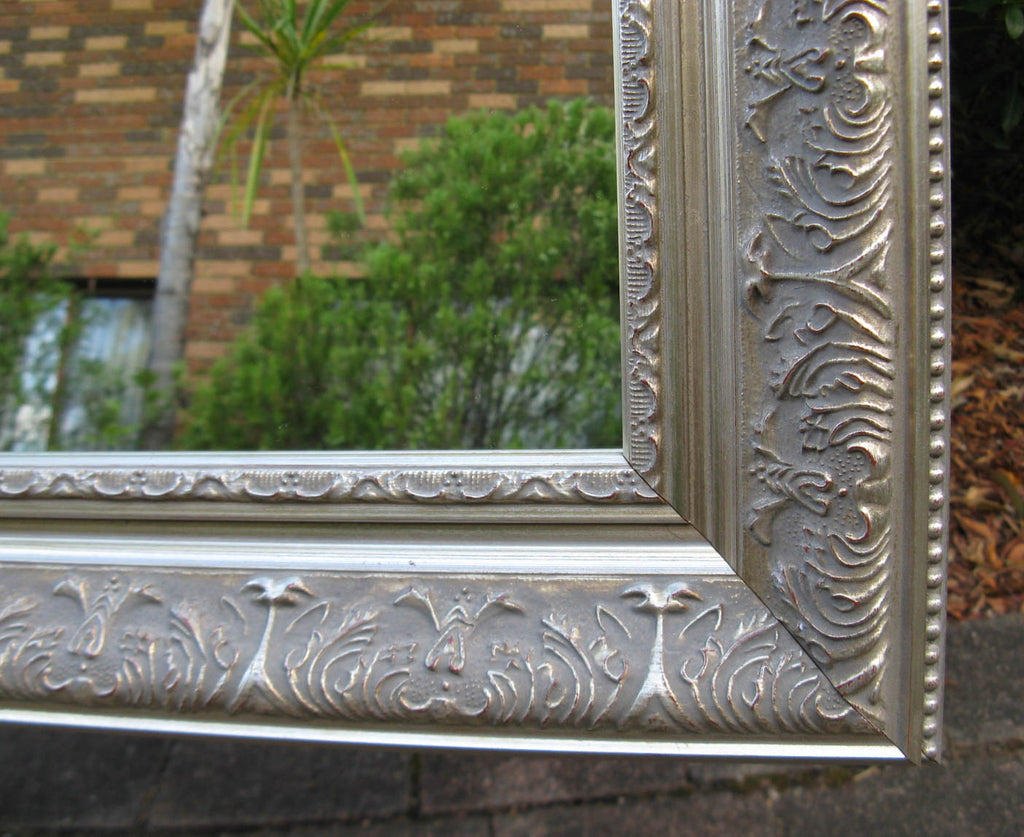 Beautiful Antique Style Aged Silver Timber Framed Wall Mirror