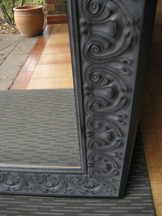Heritage Ornate Pressed Metal Look Aged Black Timber Framed Mirror