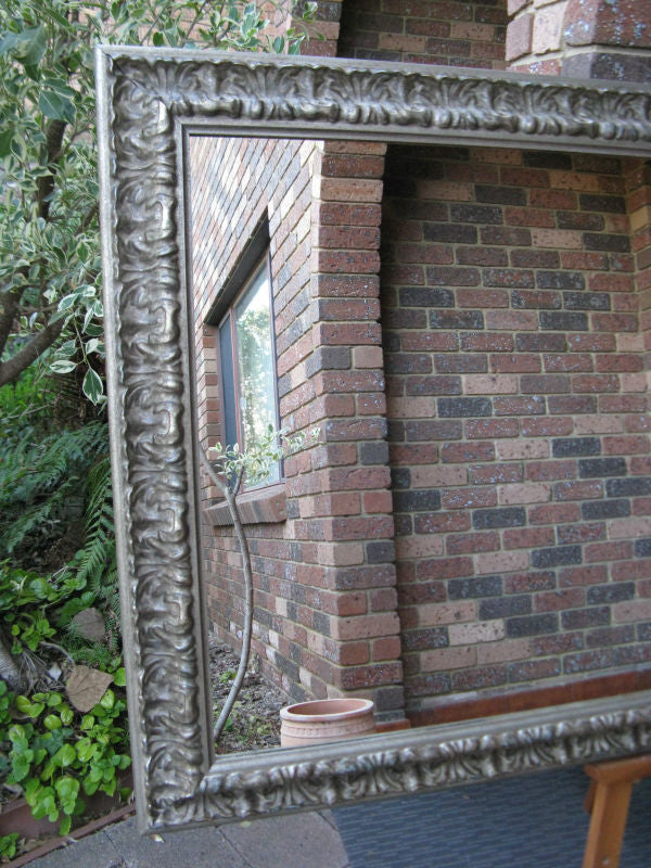 French Chateau Antique Style Aged Silver Ornate Timber Framed Mirror