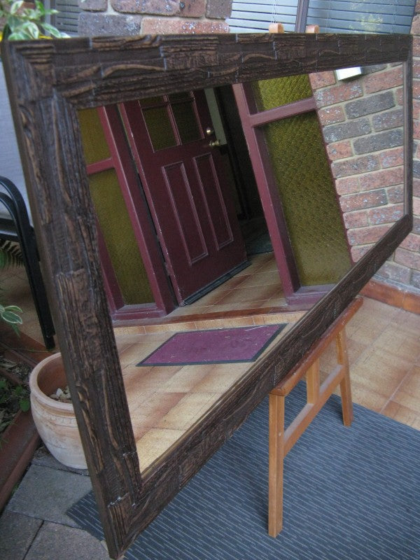 African Inspired Mocha Rustic Style Wide Timber Framed Wall Mirror