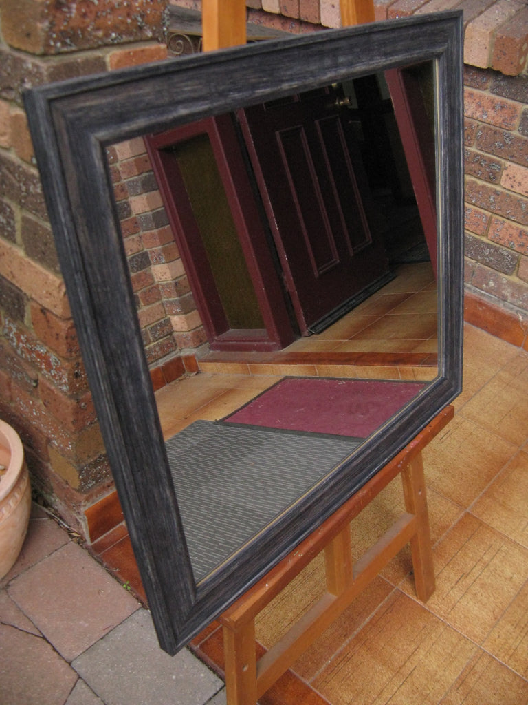 Black Wash Rustic Style Timber Framed Wall Mirror