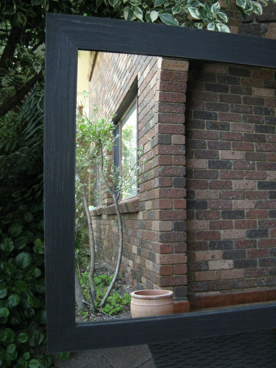 Vintage Aged Black Timber Framed Mirror