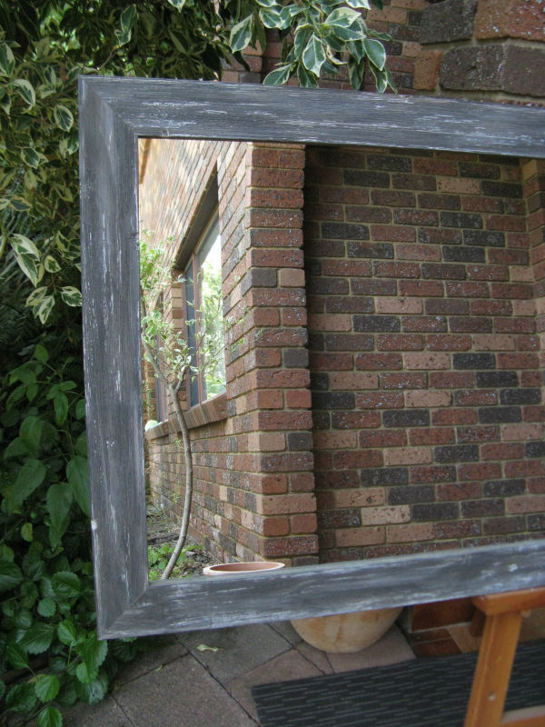 Aged Grey Rustic Style Timber Framed Wall Mirror