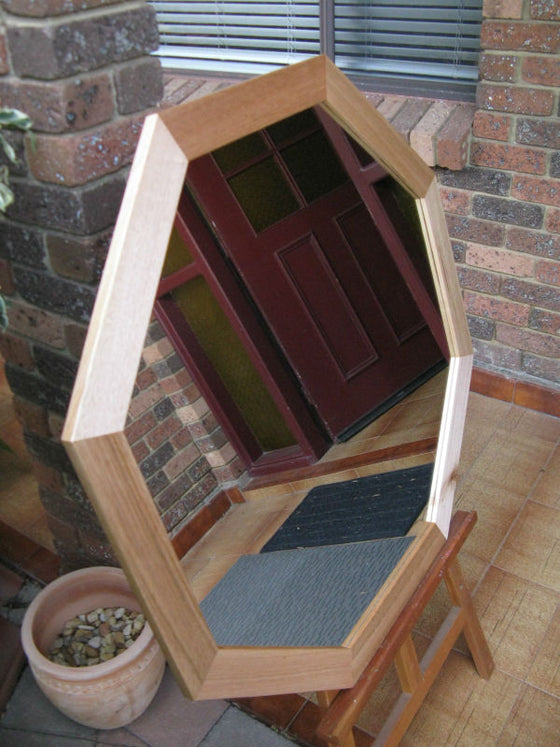 Australian Hardwood Solid Tas Oak Octagon Shaped Wall Mirror.