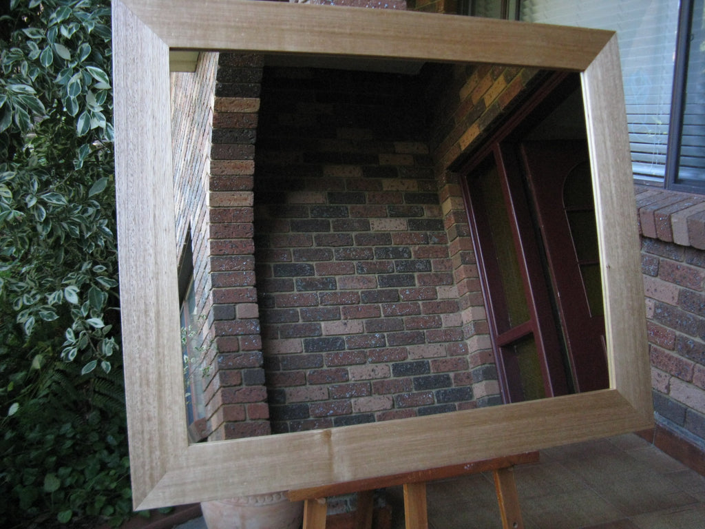 Australian Hardwood Natural Tas Oak Wide Timber Framed Wall Mirror.