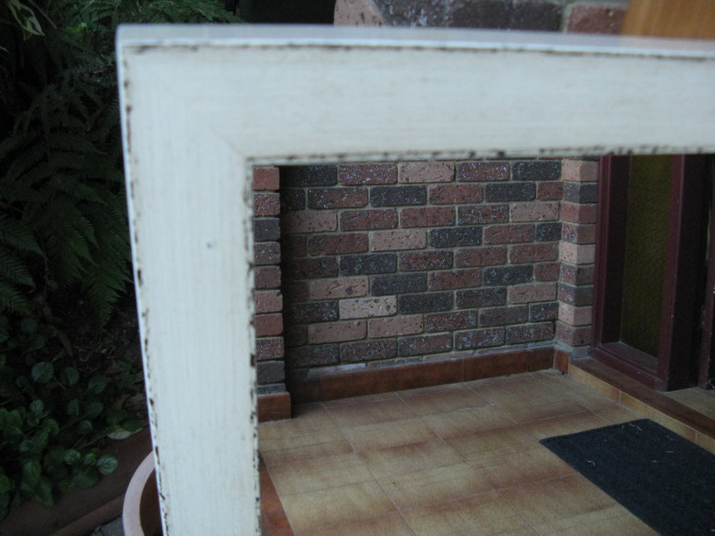 Asian Inspired Aged Ivory Chunky Timber Frame