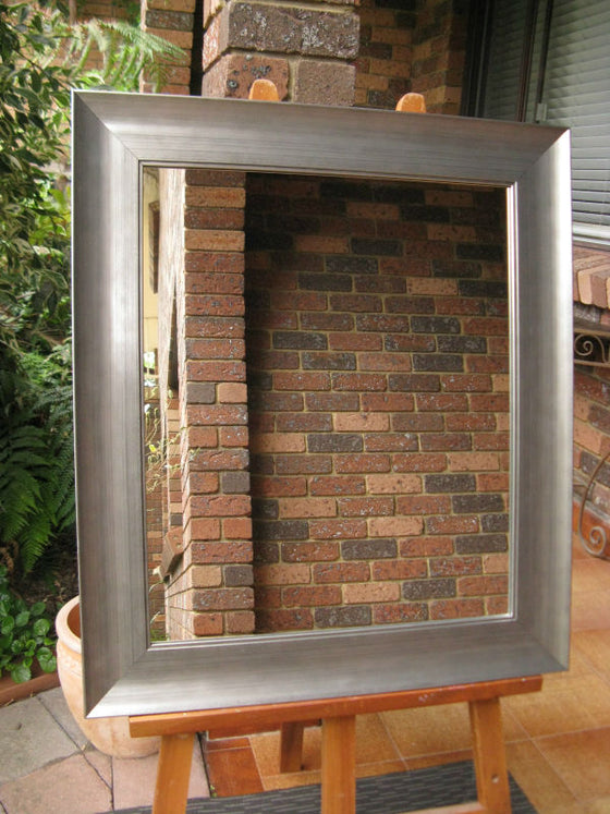 Hawthorn Industrial Style Steel Silver Timber Framed Wall Mirror