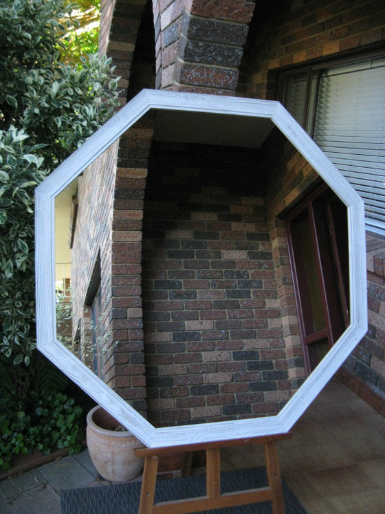 Large Octagon Shaped Wall Mirror Beach Style White Wash Timber Frame