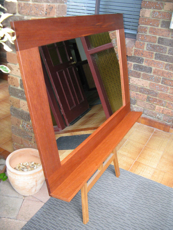 Stunning Australian Hardwood WA Red Karri Timber Mirror with Shelf