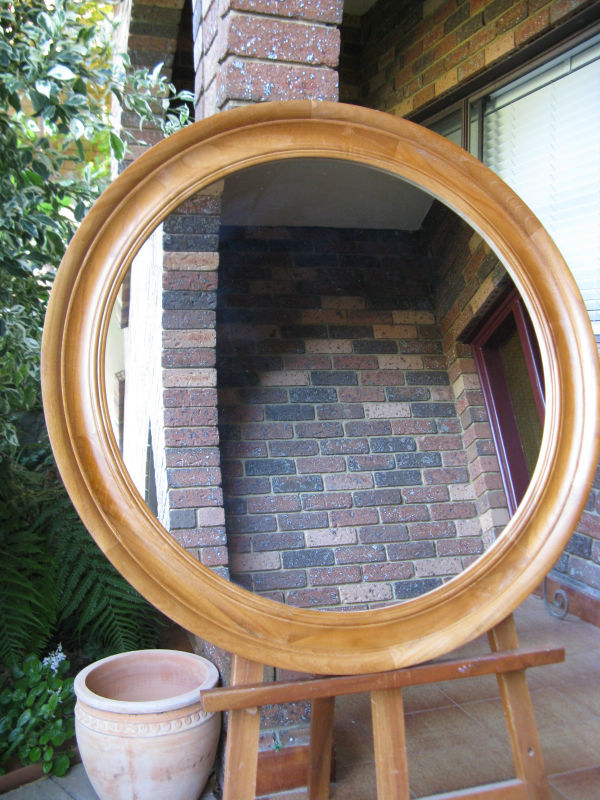 Traditional Style Dark Oak Stained Wooden Framed Circular Wall Mirror.
