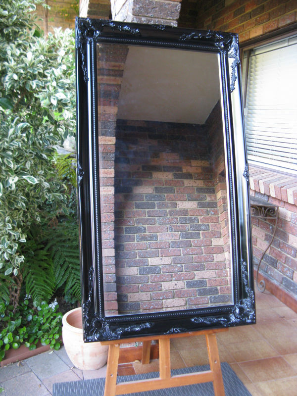 French Provincial Style Antique Look Gloss Black Wide Timber Framed Wall Mirror