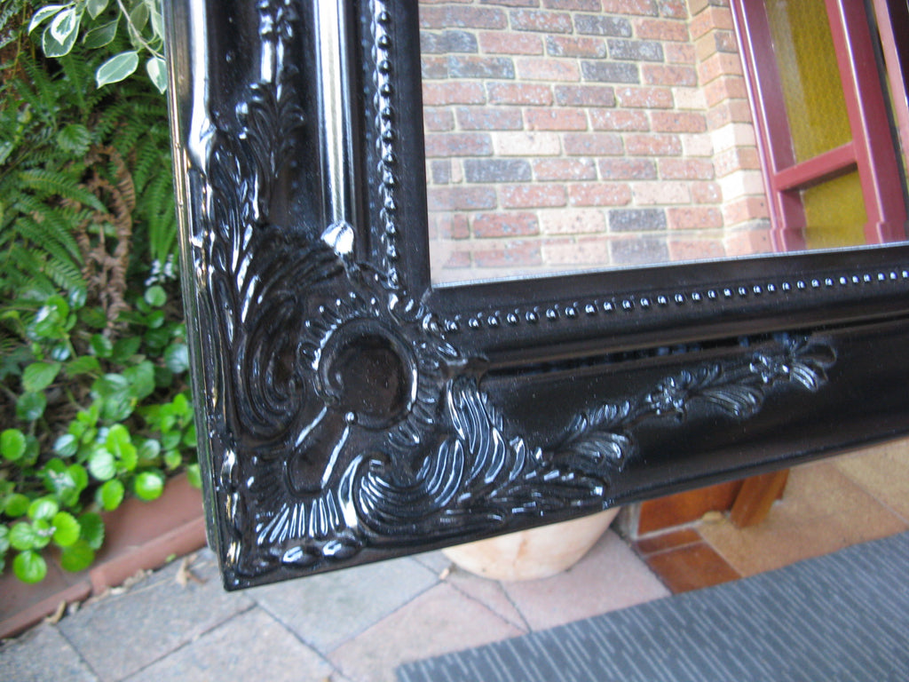 Felicity Ornate Black Gloss Mirror