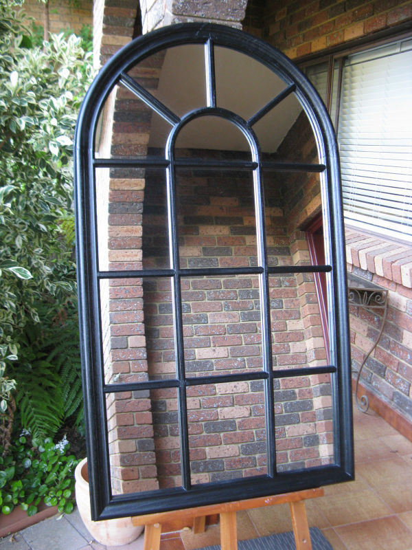 Traditional French Country Style Arched Top Window Look Matt Black Timber Framed Wall Mirror