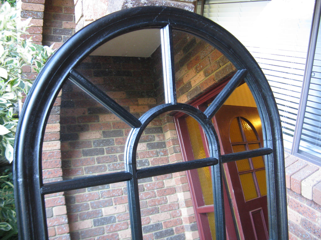 Sale Item Arched Black Timber Mirror 140x80cm