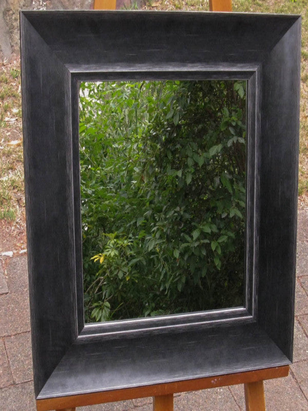 Art Deco Style Aged Black Wide Timber Framed Wall Mirror
