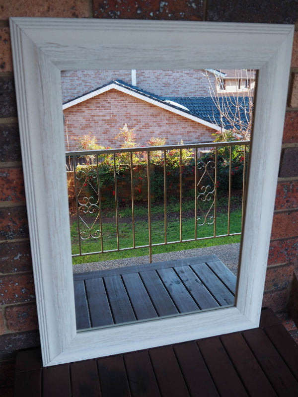 Country Style Off White Wooden Framed Large Mirror Image Enhancement ...