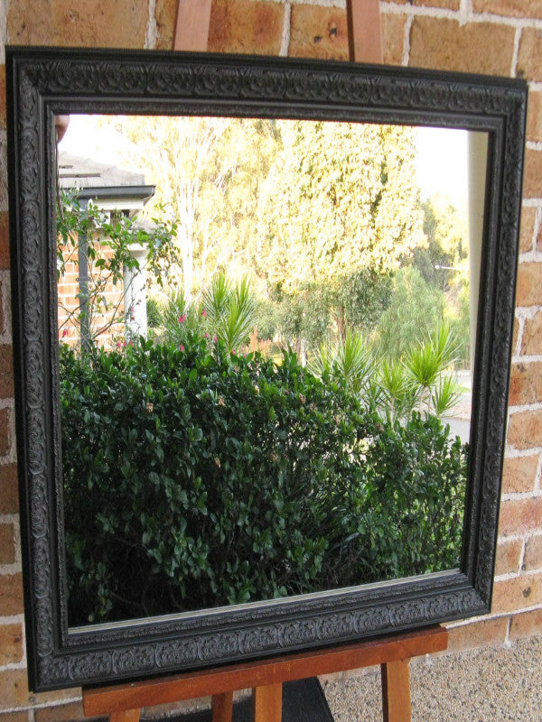 Ornate Antique Style Black Timber Framed Wall Mirror
