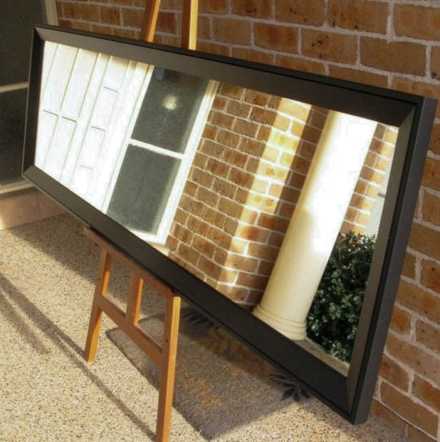 Contemporary Style Matt Black Timber Framed Wall Mirror