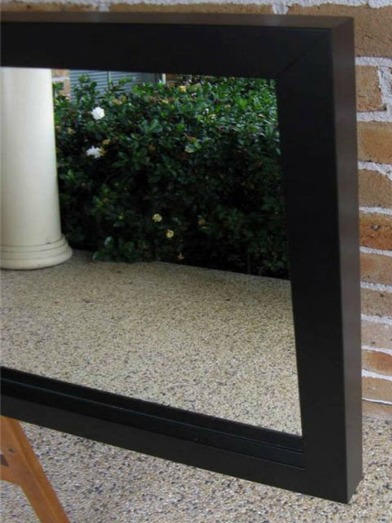 Contemporary Style Matt Black Chunky Timber Framed Wall Mirror