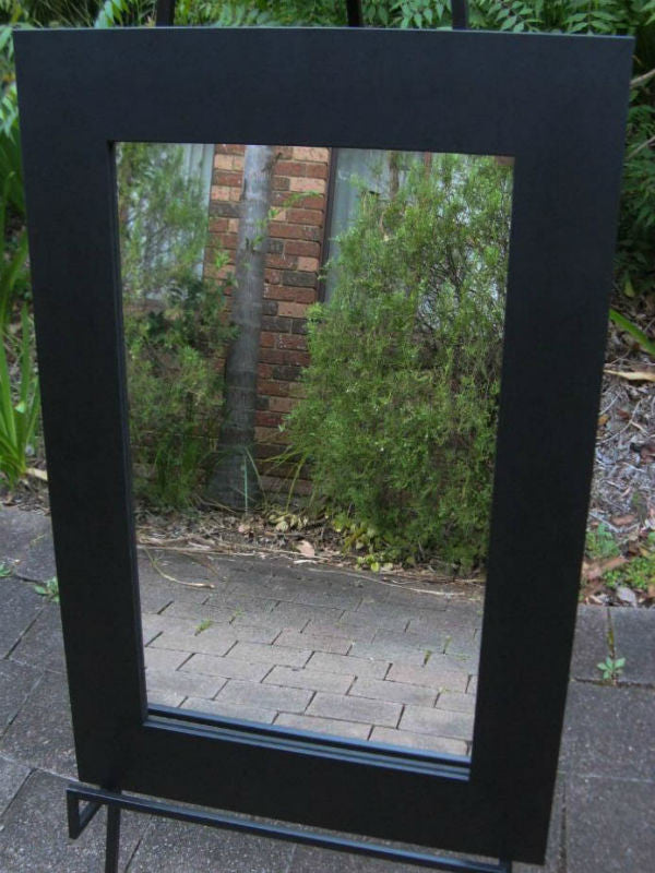 Plain Black Wide Timber Framed Wall Mirror