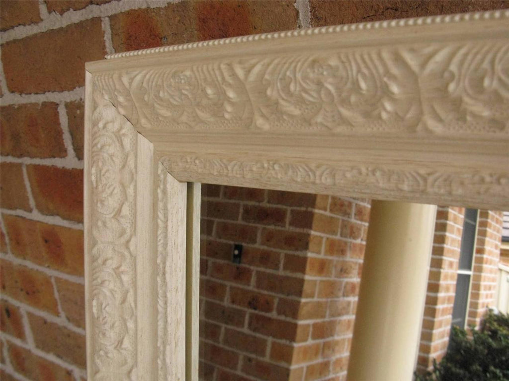 Ornate Antique Style Aged White Timber Framed Wall Mirror