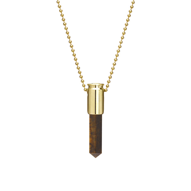 Tigers Eye Raw Bullet Pendant