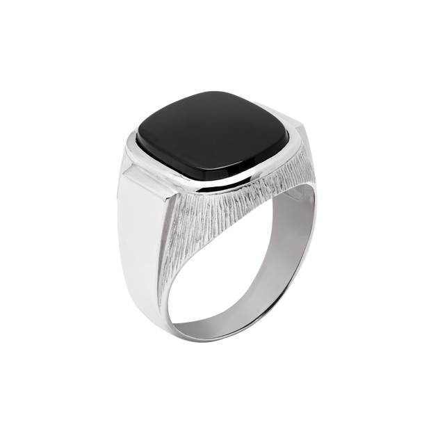 Onyx Moon Signet Ring