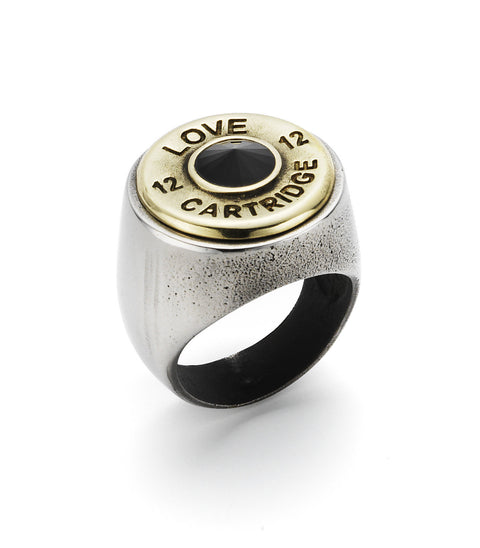 Sterling Silver Tone Love Cartridge Ring