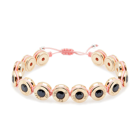 18 Ct Gold Pretty In Pink Bling Bracelet