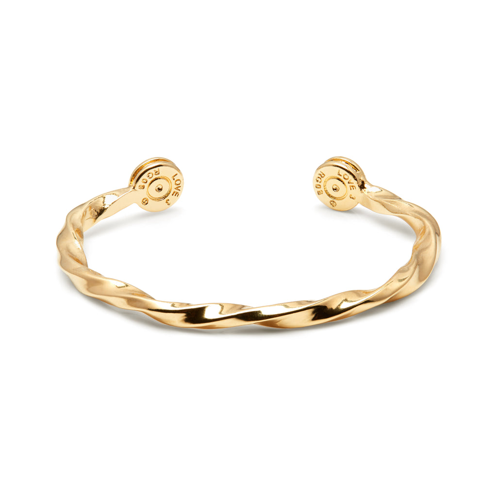 18ct Gold Plated Twisted Bullet Bangle