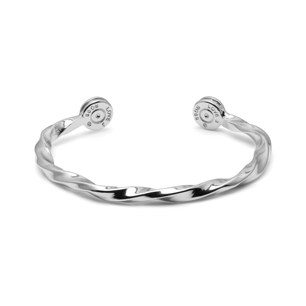 Sterling Silver Twisted Bullet Bangle