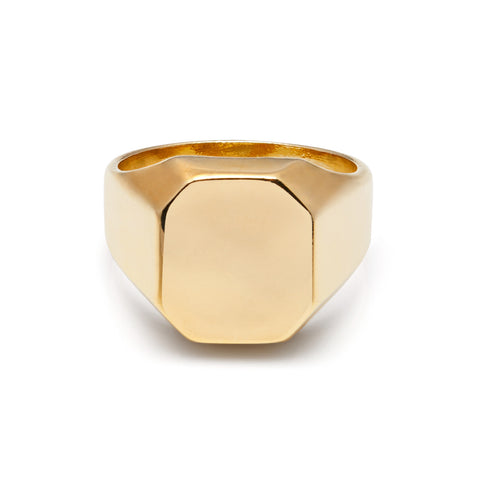 18ct Gold Plated Geo Signet Ring