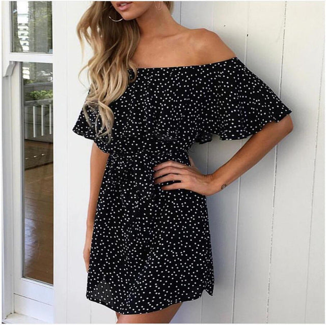 Ruffle Off Shoulder Polkadot 2018 Black Dress