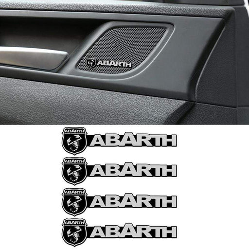 4 pcs Abarth Logo Auto Interior Emblem Stickers