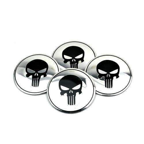 4pcs 56mm Punisher Skull Wheel Center Stickers - Silver