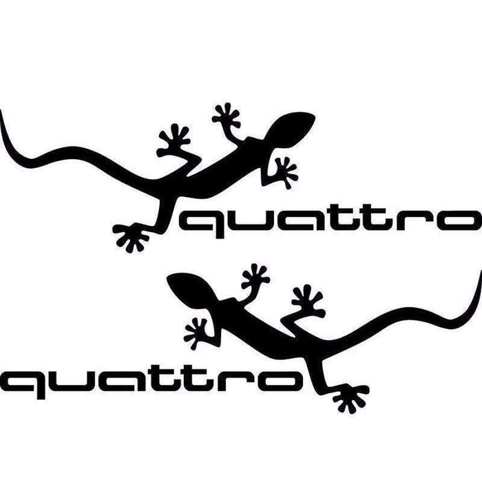 AUDI 2 pcs Vinyl Quattro Mirror Stickers For Audi Decals Black