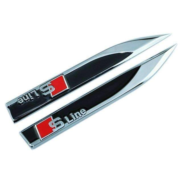 AUDI 2 pcs Metal S Line Fender Emblem for Audi Emblems Stickers