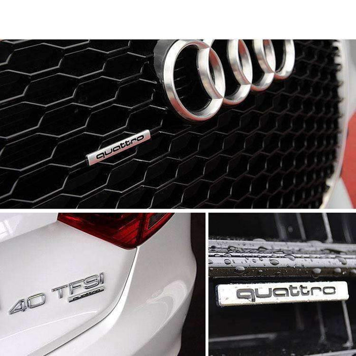 AUDI Quattro Emblem for Audi [Silver-Black, Metal, Sticker] Emblems Stickers