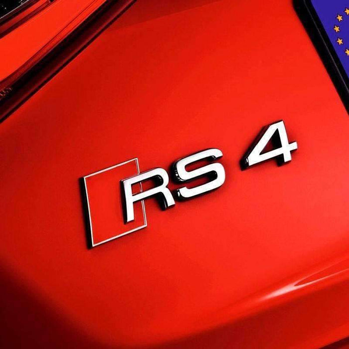 AUDI RS4 Emblem for Audi [Silver, Metal, Sticker] Emblems Stickers